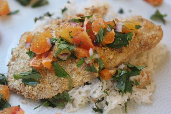 Citrus Crusted Tilapia with Blood Orange Salsa
