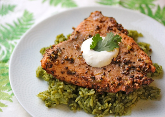 Salmon with Coriander Rub and Lime Cream - In Her Chucks