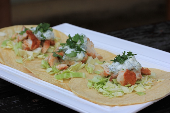 Fish Tacos with Lime- Cilantro Crema