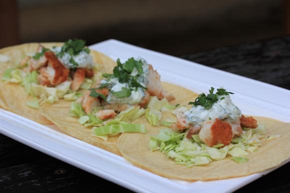 Fish Tacos with Lime- Cilantro Crema